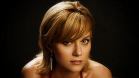 Hilarie Burton Looking At Camera Face Closeup At Black Background